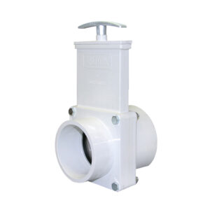 "3"" Valve Slip x Spigot, w/ SS Paddle & Metal Handle, PVC White"