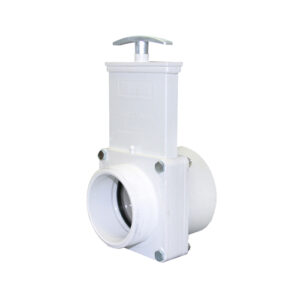 "3"" Valve MPT x Slip, w/ SS Paddle & Metal Handle, PVC White"