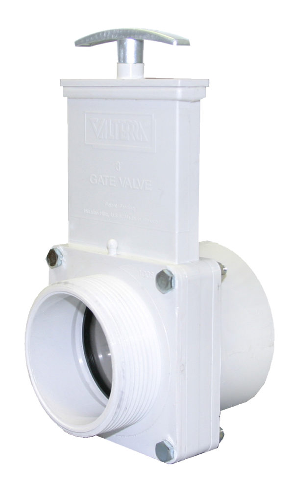 "3"" Valve MPT x Slip, w/ SS Paddle & Metal Handle, PVC White"