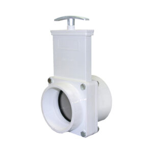 "3"" Valve FPT x Slip, w/ SS Paddle & Metal Handle, PVC White"