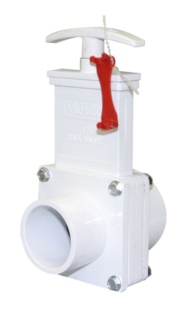 "1-1/2"" Valve Slip x Spigot, w/Gate Keeper, Plastic Paddle & Handle, PVC White"