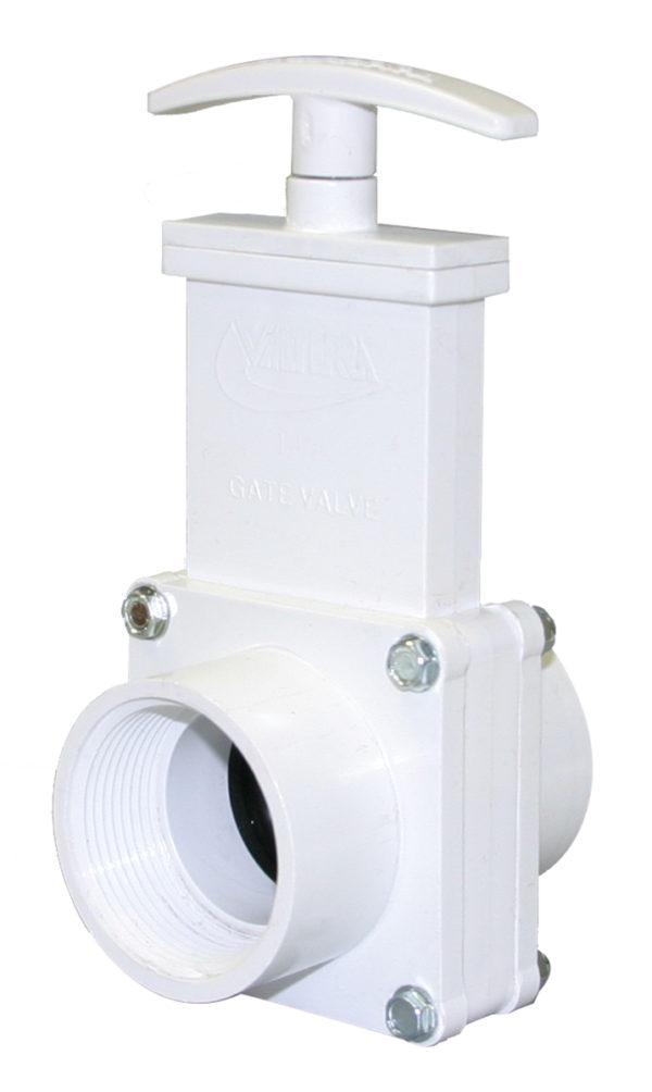 "1-1/2"" Valve FPT x FPT, w/ Plastic Paddle & Handle, PVC White"
