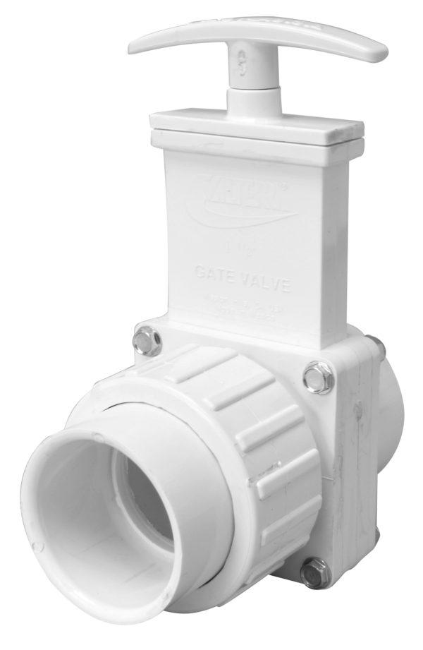 "1-1/2"" Valve Union Slip x Slip, w/ Plastic Paddle & Handle, PVC White"