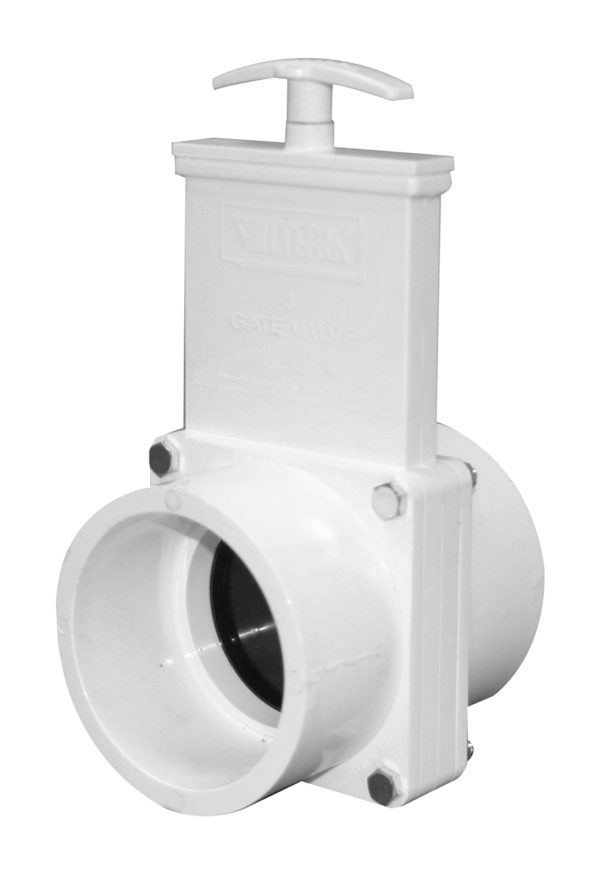 "3"" Valve Slip x Slip, w/ Plastic Paddle & Handle, PVC White"