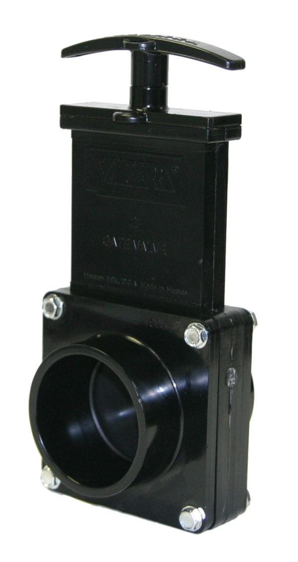 "2"" Valve Spigot x Spigot, w/ Plastic Paddle & Handle, ABS Black"