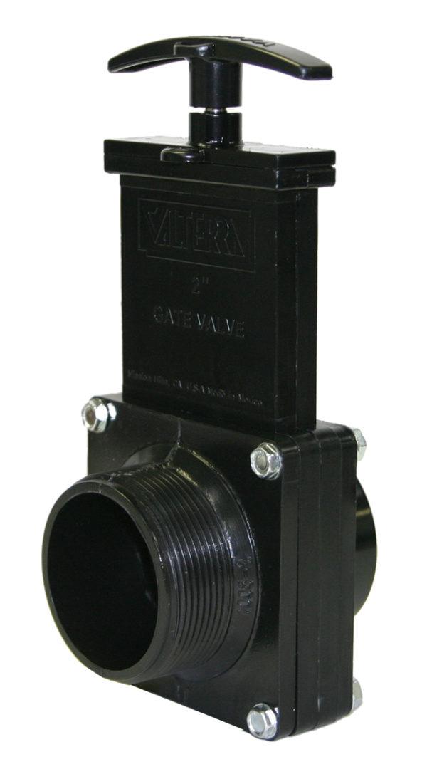 "2"" Valve MPT x Spigot, w/ Plastic Paddle & Handle, ABS Black"