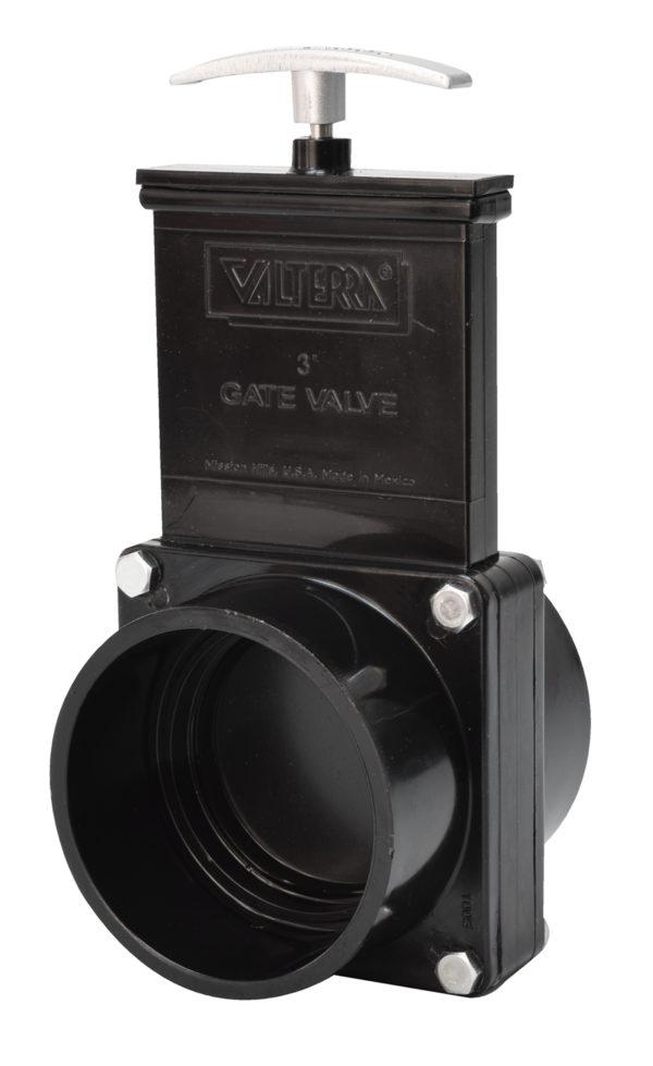 "3"" Valve Slip x Slip, w/ Plastic Paddle & Metal Handle, ABS Black"