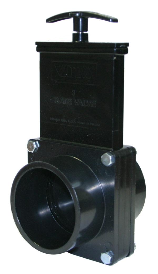 "3"" Valve Spigot x Spigot, w/ Plastic Paddle & Handle, ABS Black"