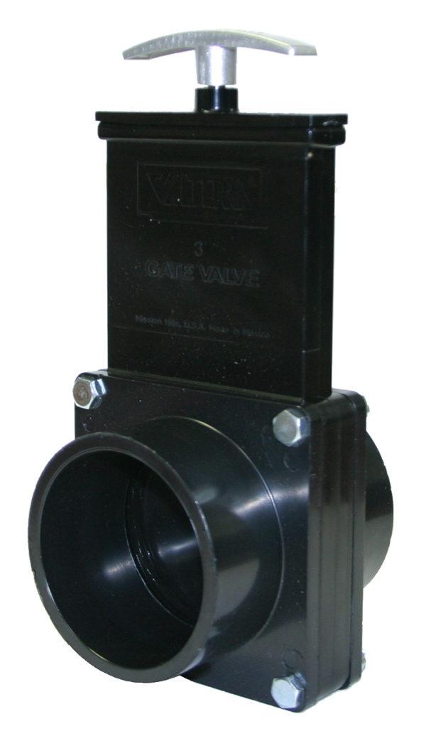 "3"" Valve Spigot x Spigot, w/ Plastic Paddle & Metal Handle, ABS Black"