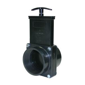 "3"" Valve FPT x Slip, w/ Plastic Paddle & Handle, ABS Black"